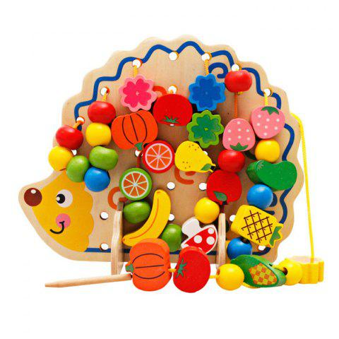 Hedgehog Fruit Stringing Bead Stackable Building Block Educational Toy for Children - COLORMIX