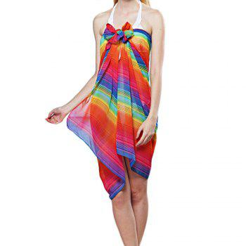 Female Rainbow Colored Stripe Chiffon Scarf - COLORMIX ONE SIZE(FIT SIZE XS TO M)