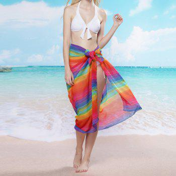 Female Rainbow Colored Stripe Chiffon Scarf - ONE SIZE(FIT SIZE XS TO M) ONE SIZE(FIT SIZE XS TO M)