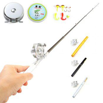 Mini 1m Aluminum Alloy Pocket Pen Fish Rod Pole Set with Fishing Reel Lines Lures