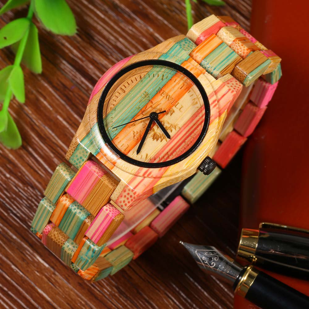 BEWELL Female Quartz Watch Colorful Bamboo Made - COLORFUL