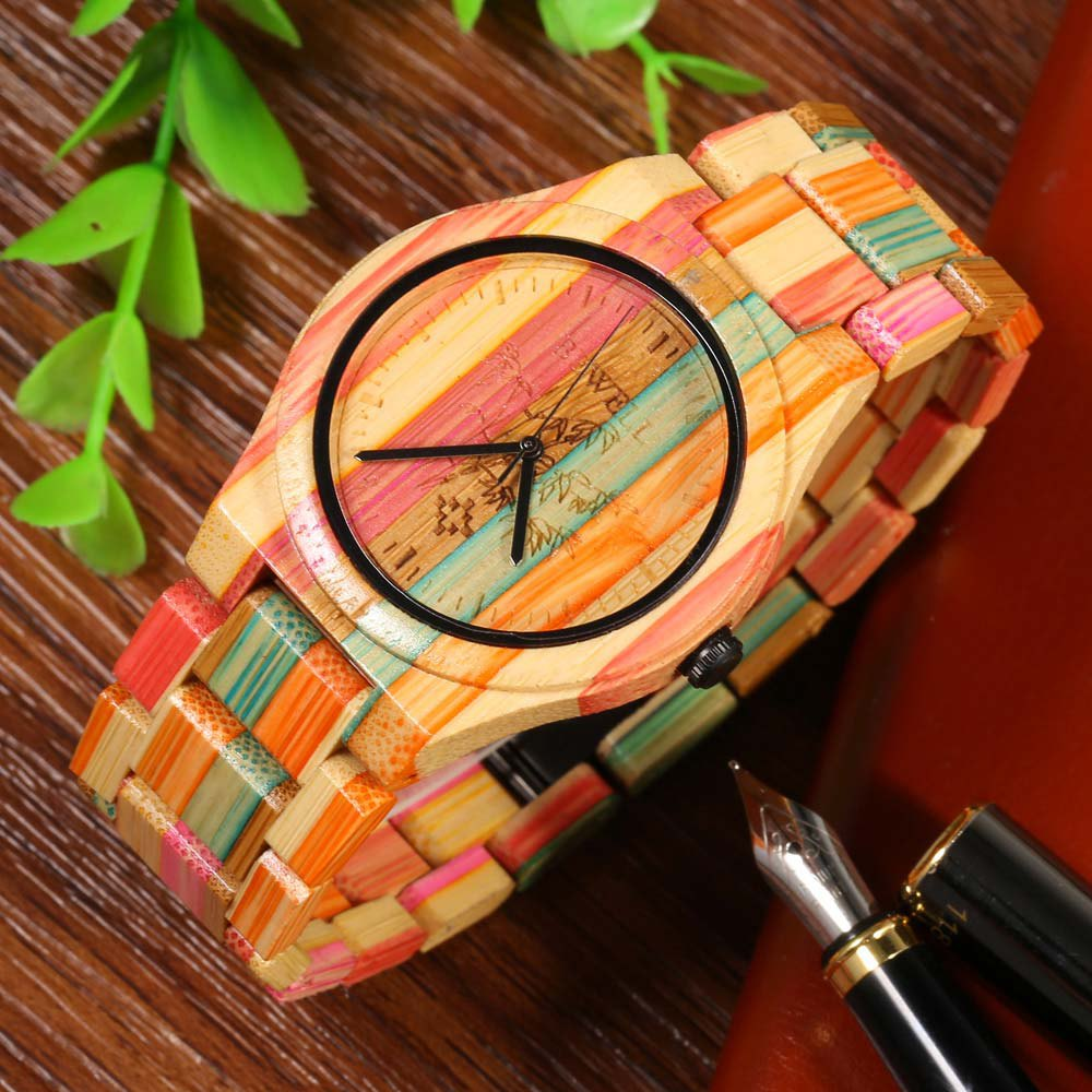 BEWELL Male Quartz Watch Colorful Bamboo Made - COLORFUL