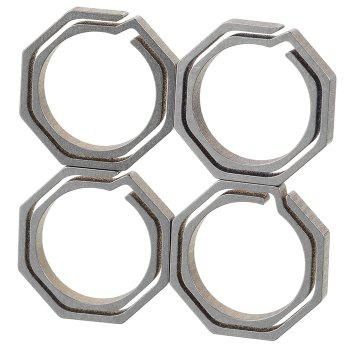 4PCS Titanium Alloy Octagonal Dual Layer Key Chain with 10KG Loading