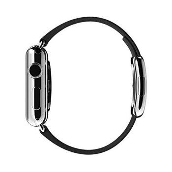 Modern Buckle Smooth Leather Strap Magnetic Closure Watchband for Apple Watch 42mm - BLACK