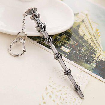 Key Chain Hanging Pendant Magic Wand Shape Keyring Movie Product for Bag Decoration - SILVER AND BLACK SILVER/BLACK