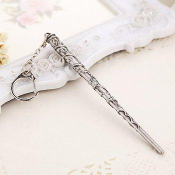 Key Chain Hanging Pendant Magic Wand Shape Keyring Movie Product for Bag Decoration - SILVER AND BLACK STYLE 3