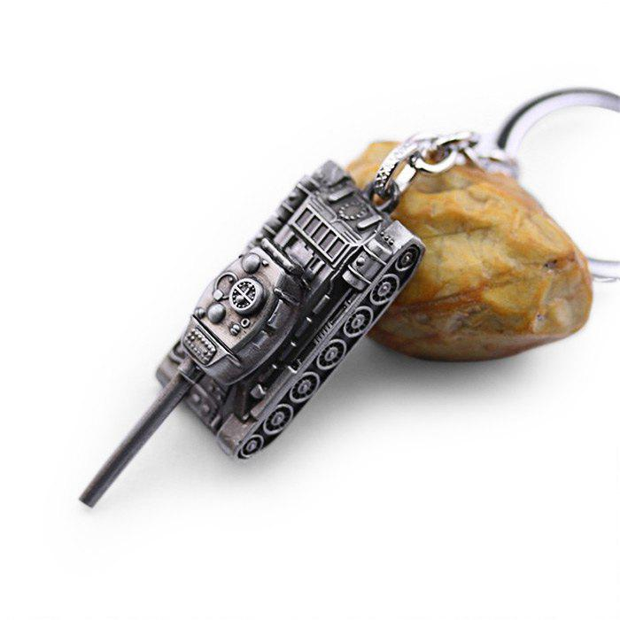 6cm Alloy Key Chain Hanging Pendant Tank Shape Keyring Movie Product for Bag Decoration - SILVER