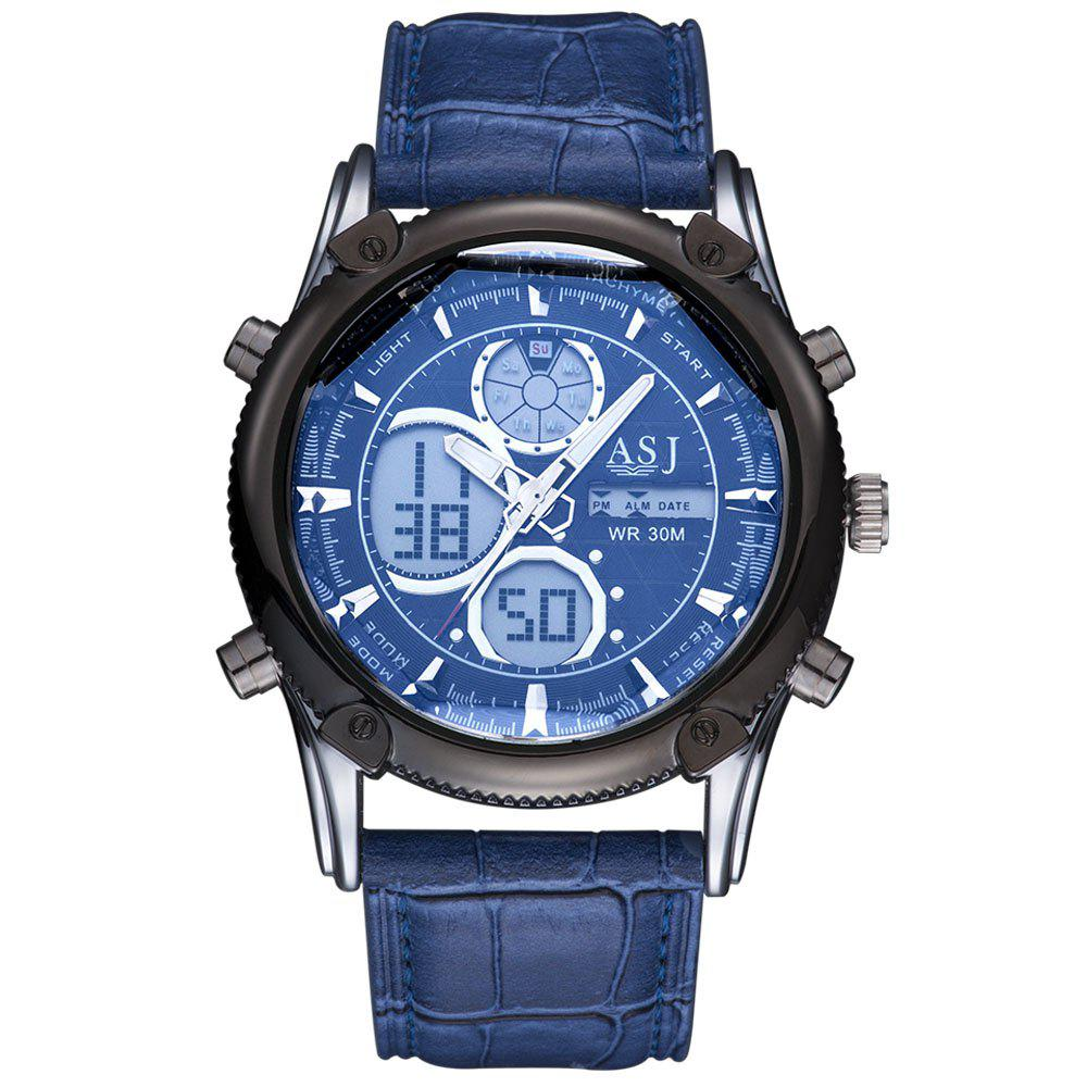 ASJ b003 Dual Movt Date and Day Display Men Quartz + Digital Watch - BLUE