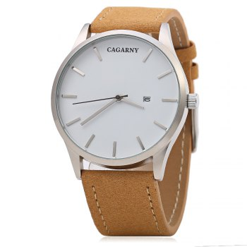 CAGARNY 6850 Business Style Male Quartz Watch with Big Dial - SILVER/BROWN