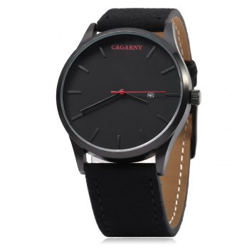 CAGARNY 6850 Business Style Male Quartz Watch with Big Dial - COFFEE/SILVER