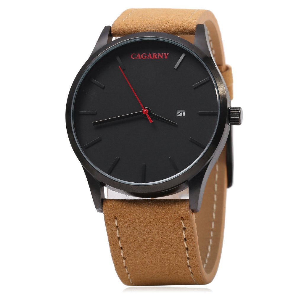 CAGARNY 6850 Business Style Male Quartz Watch with Big Dial - COFFEE