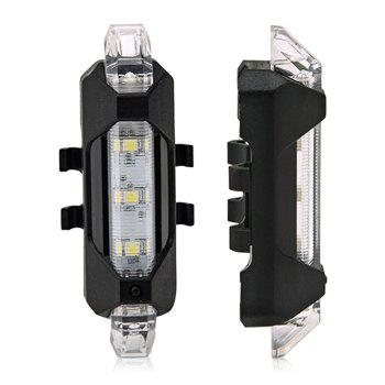 Portable LED USB Rechargeable Cycling Bike Tail Light - WHITE WHITE