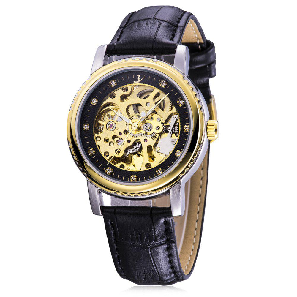 FLENT b086 Diamond Scale Hollow-out Design Male Automatic Mechanical Watch - BLACK