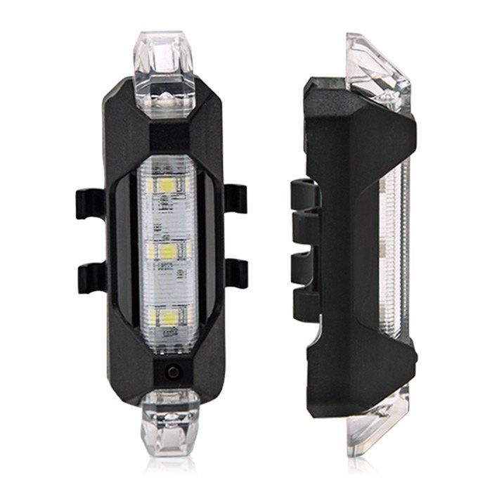 Portable LED USB Rechargeable Cycling Bike Tail Light - WHITE