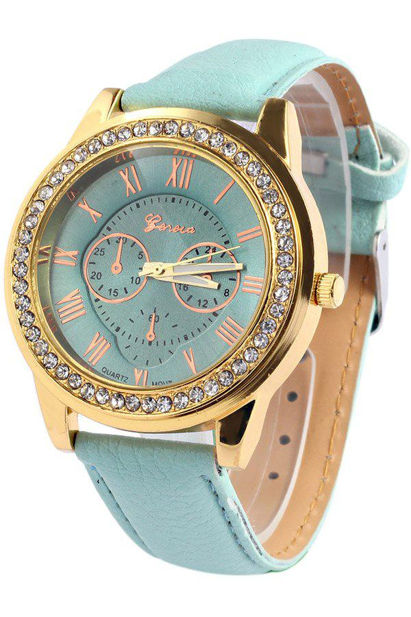 Vintage Roman Numeral Rhinestoned Watch For Women - GREEN