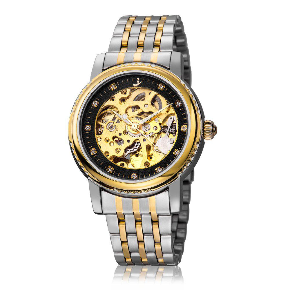 FLENT F8113G Automatic Mechanical Male Wristwatch Hollow-out Watch with Gear-shaped Bezel - BLACK