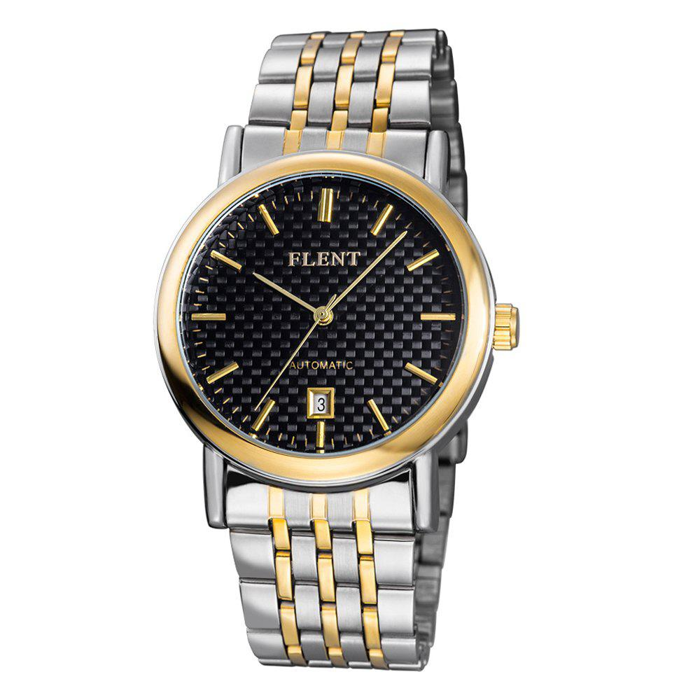 FLENT 7008 Fad Pointers Automatic Mechanical Male Hollow-out Wristwatch Date Function Watch Stainless Steel Band - BLACK/GOLDEN