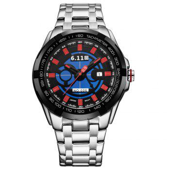 6.11 GD006 Photoelectric Conversion Male Watch Japan Movt Mineral Glass Date Display - SILVER AND RED SILVER/RED