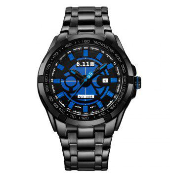 6.11 GD006 Photoelectric Conversion Male Watch Japan Movt Mineral Glass Date Display - BLUE AND BLACK BLUE/BLACK