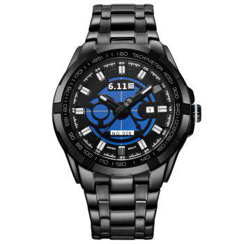 6.11 GD006 Photoelectric Conversion Male Watch Japan Movt Mineral Glass Date Display - BLACK BLACK