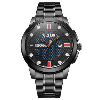 6.11 GD004 Photoelectric Conversion Male Watch Japan Movt Mineral Glass Date Display - RED WITH BLACK RED/BLACK