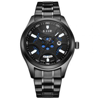 6.11 GD001 Photoelectric Conversion Male Watch Japan Movt Mineral Glass Calendar Display - BLACK BLACK