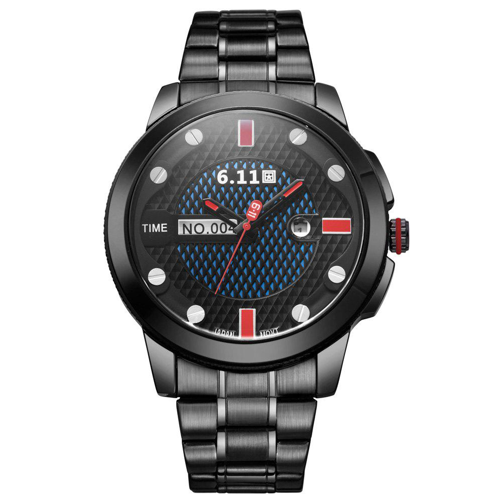 6.11 GD004 Photoelectric Conversion Male Watch Japan Movt Mineral Glass Date Display - RED/BLACK
