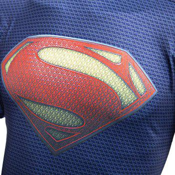 Stylish Round Neck Slim T-shirt with 3D Printing for Men - BLUE SUPERMAN BLUE SUPERMAN