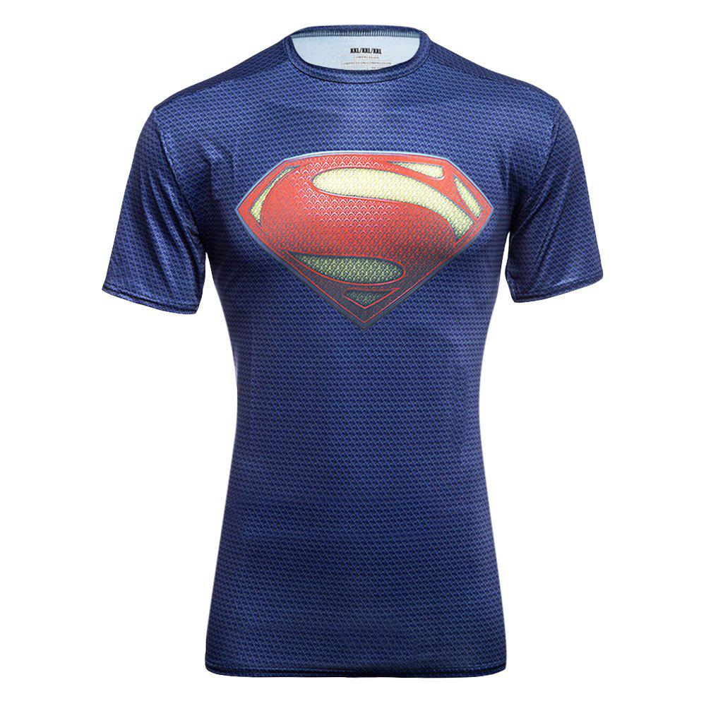Stylish Round Neck Slim T-shirt with 3D Printing for Men - BLUE SUPERMAN M
