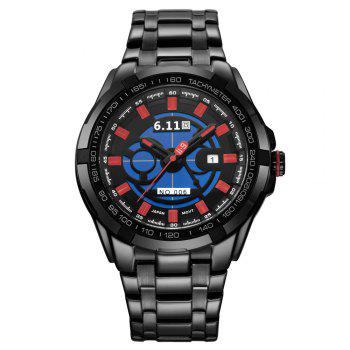 6.11 GD006 Photoelectric Conversion Male Watch Japan Movt Mineral Glass Date Display - SILVER/RED
