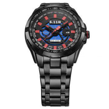 6.11 GD006 Photoelectric Conversion Male Watch Japan Movt Mineral Glass Date Display -  BLUE/BLACK