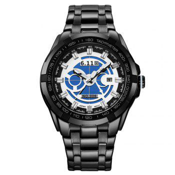 6.11 GD006 Photoelectric Conversion Male Watch Japan Movt Mineral Glass Date Display -  BLACK