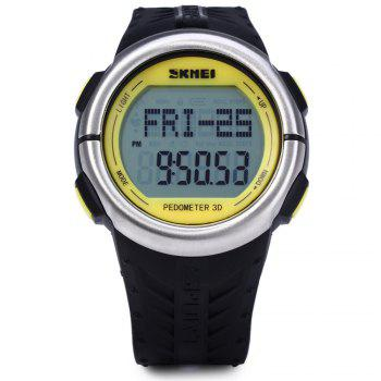 SKMEI 1058 Heart Rate Sports LED Watch with Pedometer Function Water Resistance Wristwatch -  YELLOW