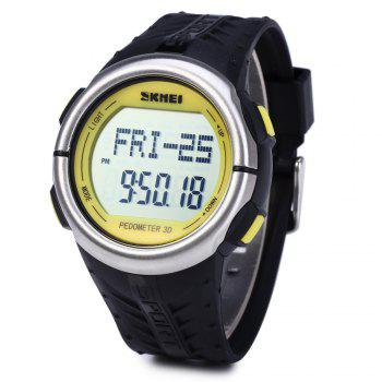 SKMEI 1058 Heart Rate Sports LED Watch with Pedometer Function Water Resistance Wristwatch - YELLOW YELLOW