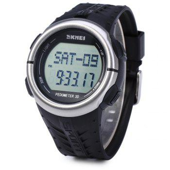 SKMEI 1058 Heart Rate Sports LED Watch with Pedometer Function Water Resistance Wristwatch - BLACK BLACK