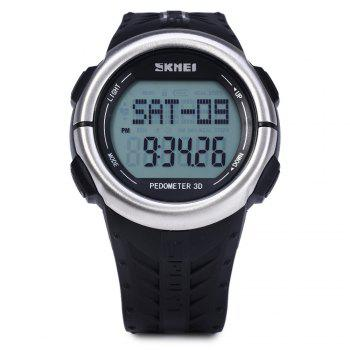 SKMEI 1058 Heart Rate Sports LED Watch with Pedometer Function Water Resistance Wristwatch - BLACK