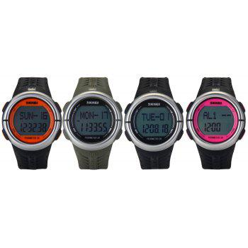 SKMEI 1058 Heart Rate Sports LED Watch with Pedometer Function Water Resistance Wristwatch -  SILVER