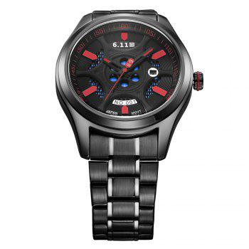 6.11 GD001 Photoelectric Conversion Male Watch Japan Movt Mineral Glass Calendar Display -  BLACK