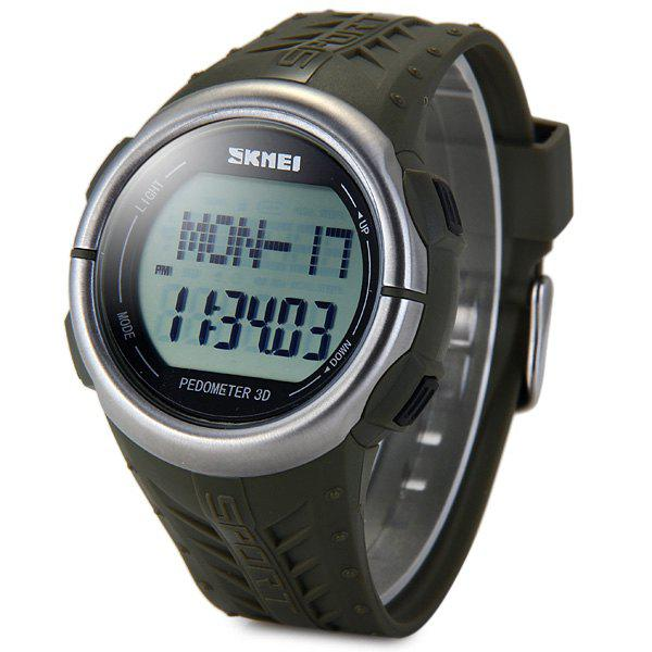 SKMEI 1058 Heart Rate Sports LED Watch with Pedometer Function Water Resistance Wristwatch - ARMY GREEN