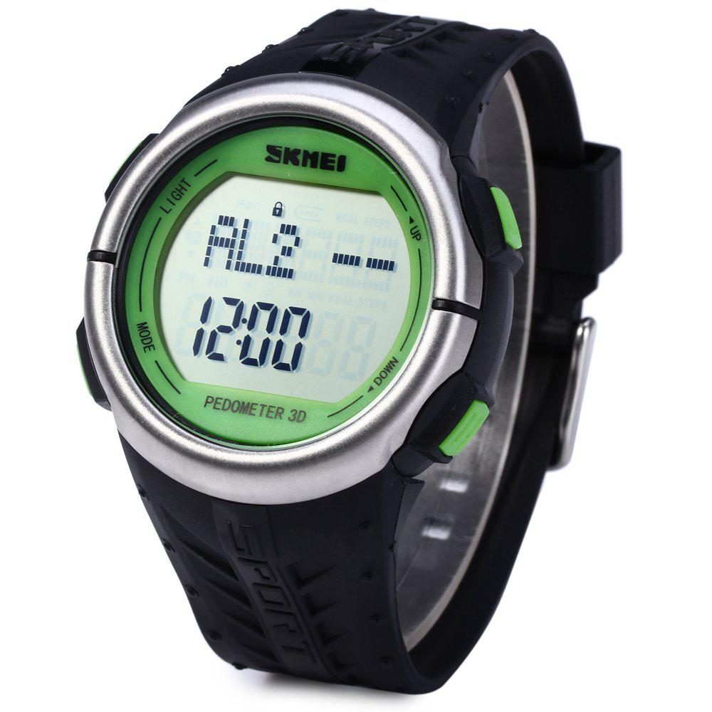 SKMEI 1058 Heart Rate Sports LED Watch with Pedometer Function Water Resistance Wristwatch - GREEN