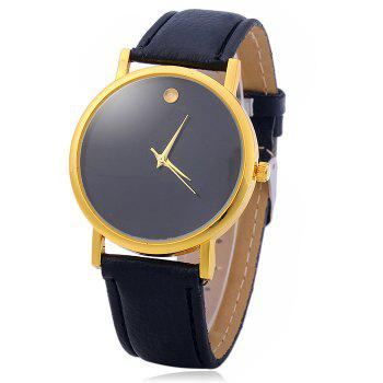 Simple Men Quartz Watch Leather Watchband Wristwatch - BLACK BLACK