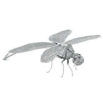 ZOYO Dragonfly Style Metallic Building Puzzle 3D Educational DIY Assembling Toy - SILVER DRAGONFLY