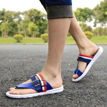 Summer Men Leisure Flat Sole Anti-slip Flip-flop Slipper for Outdoor / Home - BLUE 43