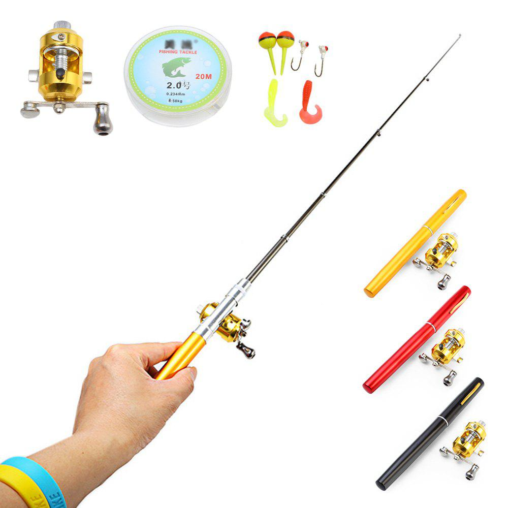 Mini Portable Baitcasting Reel Compound Fishing Rod Aluminum Alloy Pen Set - COLORMIX