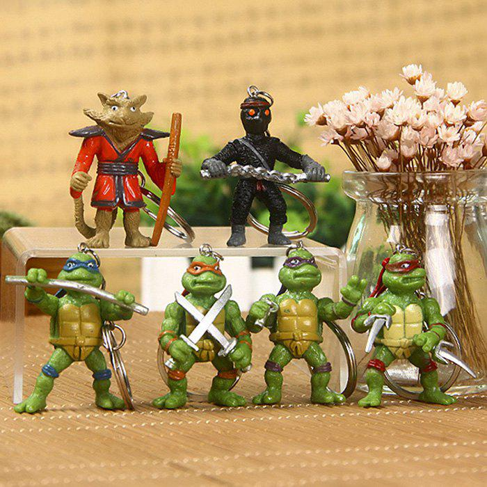 5cm 6PCs Movie Figure Turtle Key Chain Keyring Kid Toy Decoration for Bag Desktop - COLORMIX STYLE 1