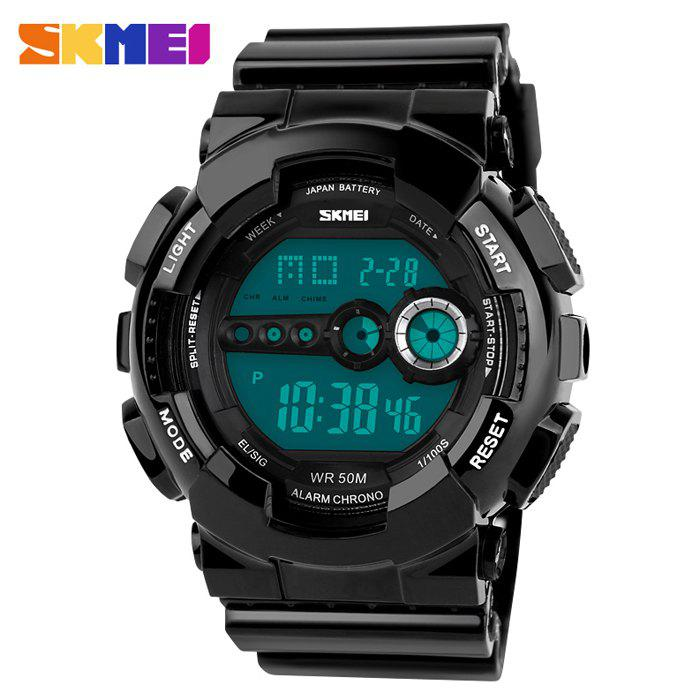 Skmei 1026 Military LED Watch 5ATM Water Resistant Week Date Japan Movtz Sports Wristwatch - BLACK