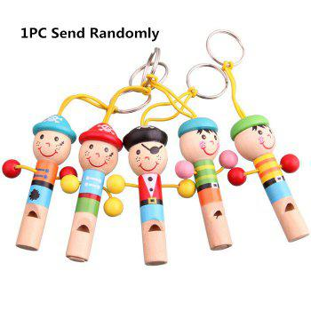1PC Mini Cartoon Whistle Wooden Baby Kid Musical Development Toy