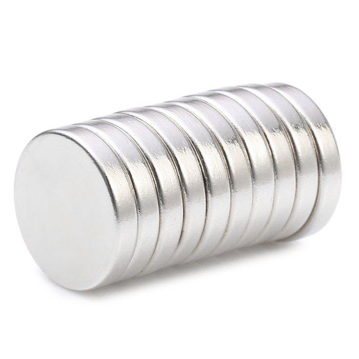 10Pcs 15 x 15 x 3mm N38 Strong NdFeB Round Magnet Birthday DIY Intelligent Gift - SILVER 15 X 15 X 3 MM