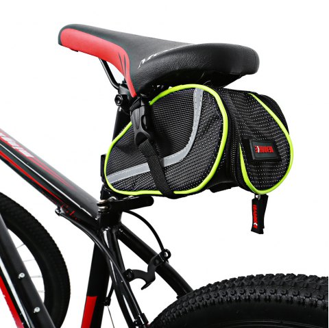 Leadbike A43 Portable Waterproof Bicycle Saddle Bag Front Tube Package - BLACK/GREEN