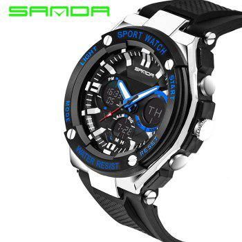 Sanda 733 Double Movt LED Sports Watch with Stopwatch Alarm Day Date Function